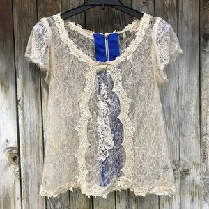Anthropologie Fei Cream Laced Embroidered Blouse